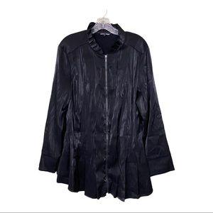 Samuel Dong Sz Lg Black Front Zipper Jacket